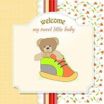 shower card with teddy bear hidden in a shoe