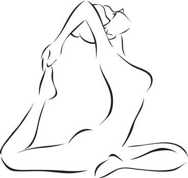 Symbolical monochrome image of yoga. The girl practices yoga
