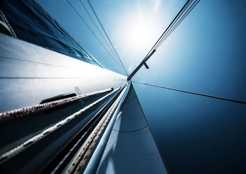 Sail over blue clear sky