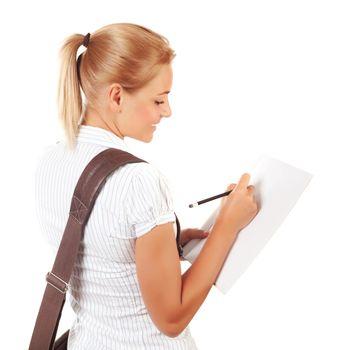 Student girl writing exams