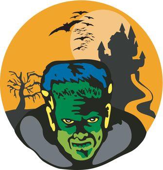 Frankenstein Haunted House Retro