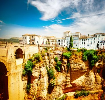 Ronda, Spain. Panoramic view of the old city of Ronda at sunset