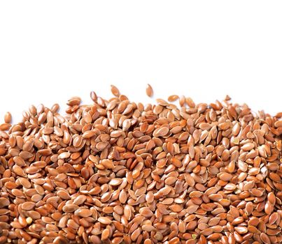 Linseed border isolated on White Background. Flax seeds
