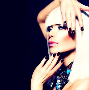 Beauty Woman with White Hair and Black Nails over Black