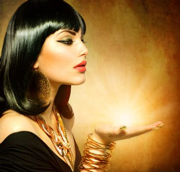 Egyptian Style Woman with Magic Light in Her Hand