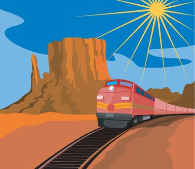 Illustration of a red train heading front with sun and desert in the background done in retro style.