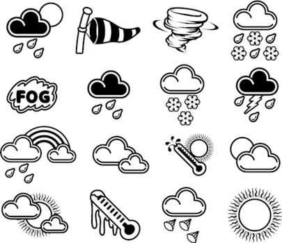A set of monochrome weather icons like those used in forecasts