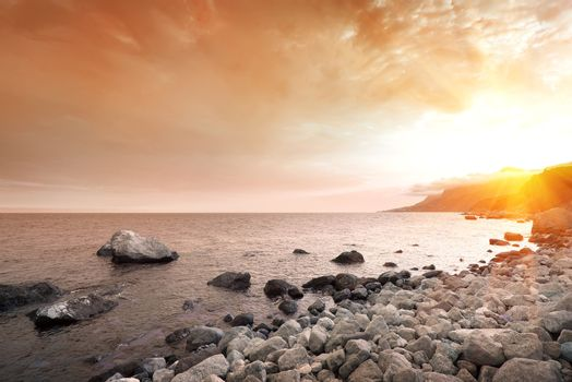Scenic sunset at sea