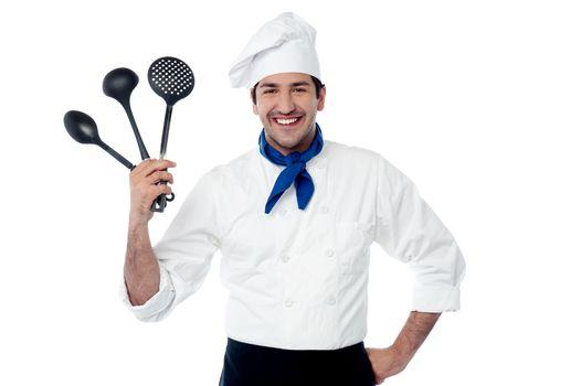 Chef showing kitchen essentials