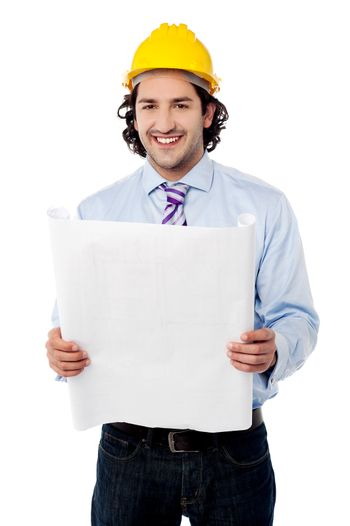 Handsome architect with construction plan