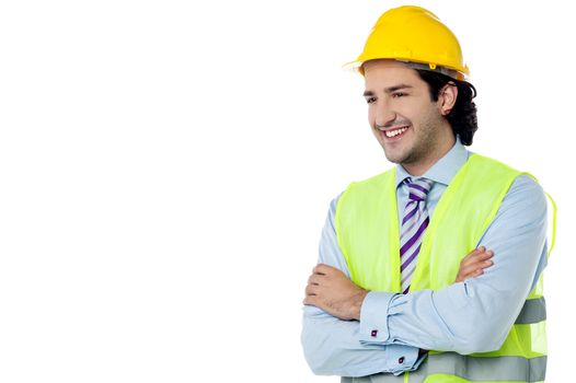 Confident civil engineer with hard hat