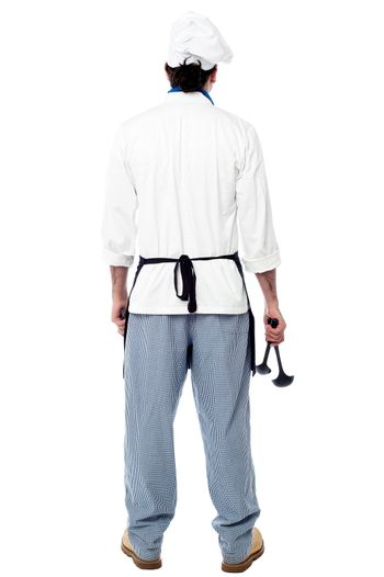 Back pose of a male chef in uniform