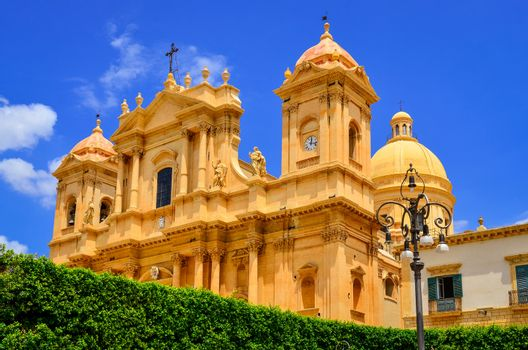 View of baroque style cathedral in old town Noto, Sicily