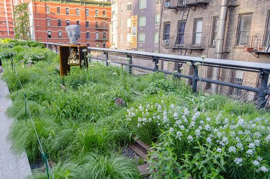 NEW YORK - CIRCA MAY 2013: The High Line Park, New York, circa May 2013. The High Line is a popular linear park built on the elevated train tracks above Tenth Ave in New York City.