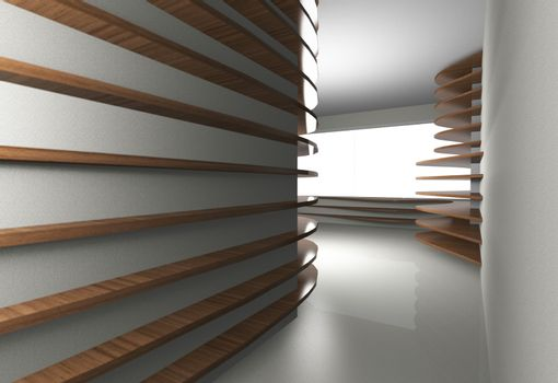3D rendered of abstract interior with curve wood shelfs