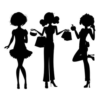 silhouette of three cute fashion girls isolated on white background
