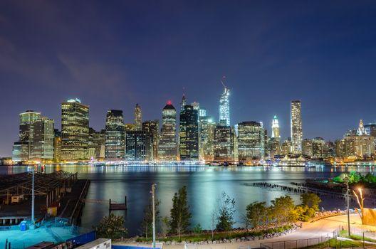 Manhattan Skyline at Night, seen from Brooklyn Height Promenade