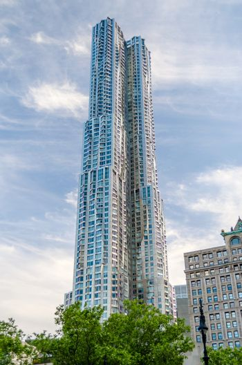 NEW YORK - MAY 27: The Beekman Tower, also known as 8 Spruce St. or New York by Gehry, on May 27, 2013. The tower is the second tallest residential building in the Western Hemisphere