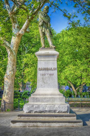 NEW YORK - JUNE 1: Monument to Garibaldi in Washington Square, New York on June 1, 2013.This monument was dedicated in June 1888 to General G. Garibaldi, the 19th century Italian patriot who crusaded for a unified Italy during the European era of state building.