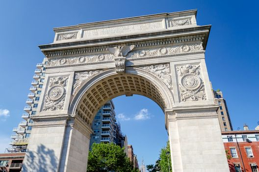 NEW YORK - JUNE 1: Washington Square Arch on June 1, 2013 in New York. The arch was built in 1892 to commemorate George Washington centennial inauguration as president.