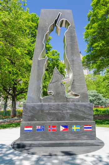 NEW YORK - MAY 27:Korean War Memorial in Battery Park on May 27, 2013. The memorial, dating back 1991, was designed by the artist Mac Adams and honors military who served in the Korean War