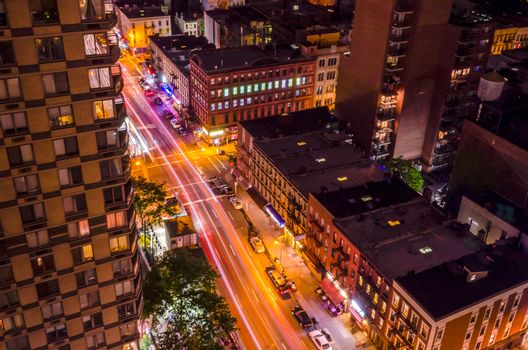 New York City, Aerial Night View of the Upper East Side, corner between 2nd Ave and 86th st