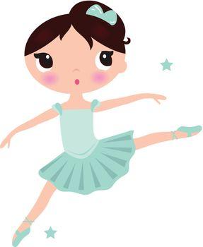 Little ballerina in jumping pose. Vector Illustration