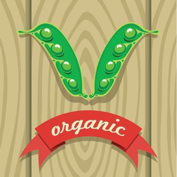 vector illustration of a pea pod on wooden boards with a red ribbon labeling