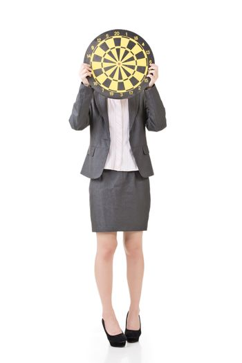 Asian business woman with a dartboard