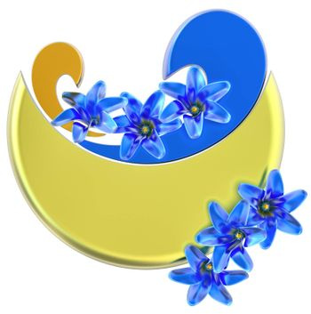 yellow and blue form with blue flowers