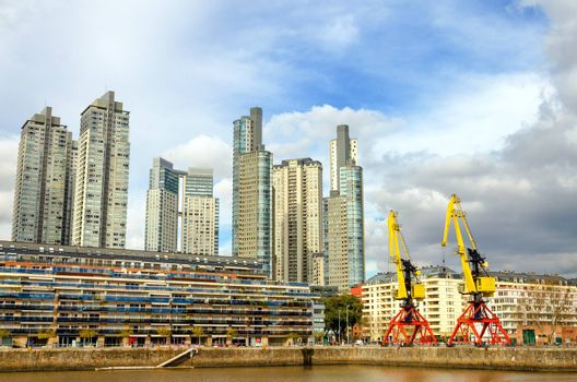 Tall skyscrapers in the Puerto Madero neighborhood of Buenos Aires, Argentina