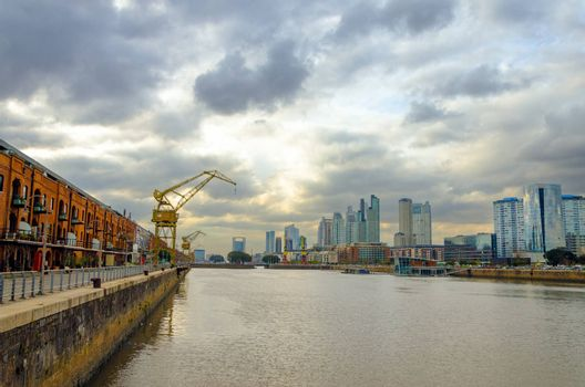 A wide angle view of the Puerto Madero neighborhood in Buenos Aires, Argentina