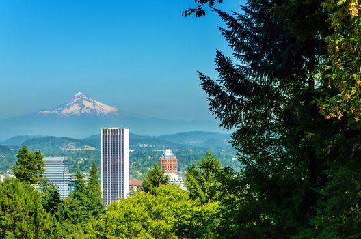 Mount Hood rising above downtown Portland, Oregon