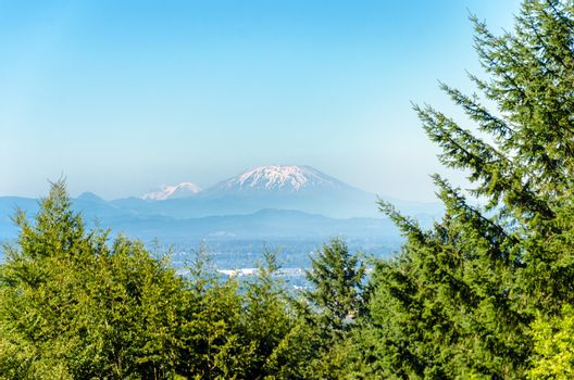 View of Mount St Helens as seen from Portland, Oregon