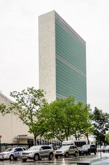 NEW YORK - MAY 28: United Nations Building, New York on May 28, 2013. The United Nations Building in Manhattan is the headquarters of the United Nations organization since 1952