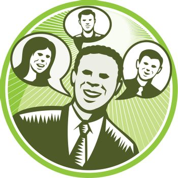 Illustration of a black african american businessman facing front smiling with speech bubble with happy people inside done in retro woodcut style set inside circle.