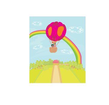 Family flying a hot air balloon over the rainbow