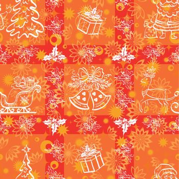 Christmas cartoon seamless background for holiday design, white contours on red. Vector