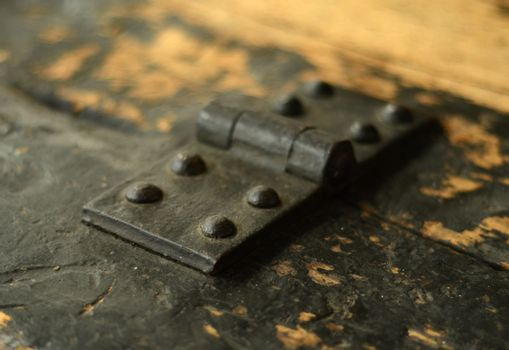 An Old Vintage Hinge On Some Painted Wooden Boards (With Shallow DOF)