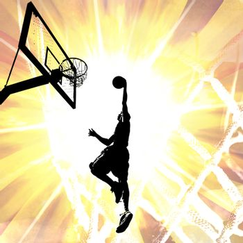 Silhouette illustration of an athlete slam dunking a basketball over a fiery background.