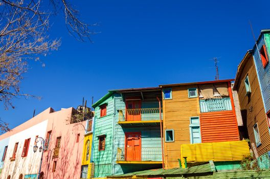 Brightly painted buildings in La Boca neighborhood of Buenos Aires, the birthplace of Tango