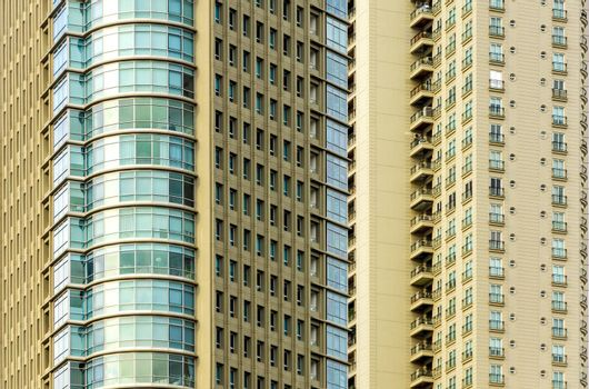 Closeup view of upscale skyscraper apartment buildings the Puerto Madero neighborhood of Buenos Aires