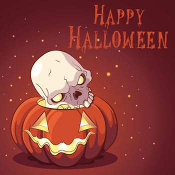 Halloween design with pumpkin and scull