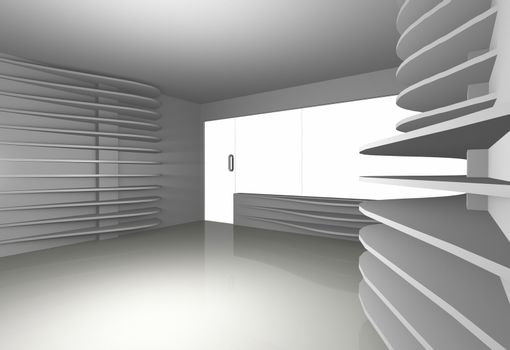 white curve shelfs in empty interior, 3D rendered