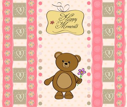 greetings card with teddy bear toy