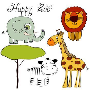 vector illustration of cute wild animal set including giraffe, z