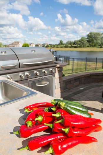 Chillis and Zucchinis on the Counter Top
