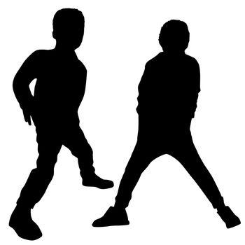 Silhouettes of two fashion boys