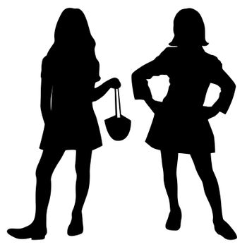 Silhouettes of two fashion girls