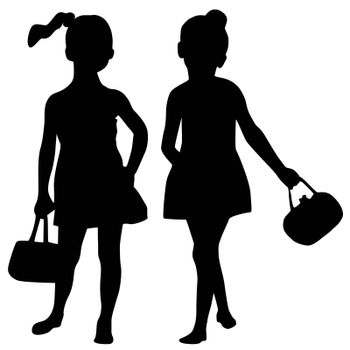 Silhouettes of two fashion girs with bags